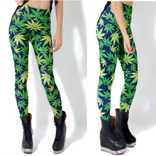 2016 Stretch Leggings Fashion Hemp Green Leaf Digital Printing Leggings Women's Pencil Pants Punkrock Legins S M L