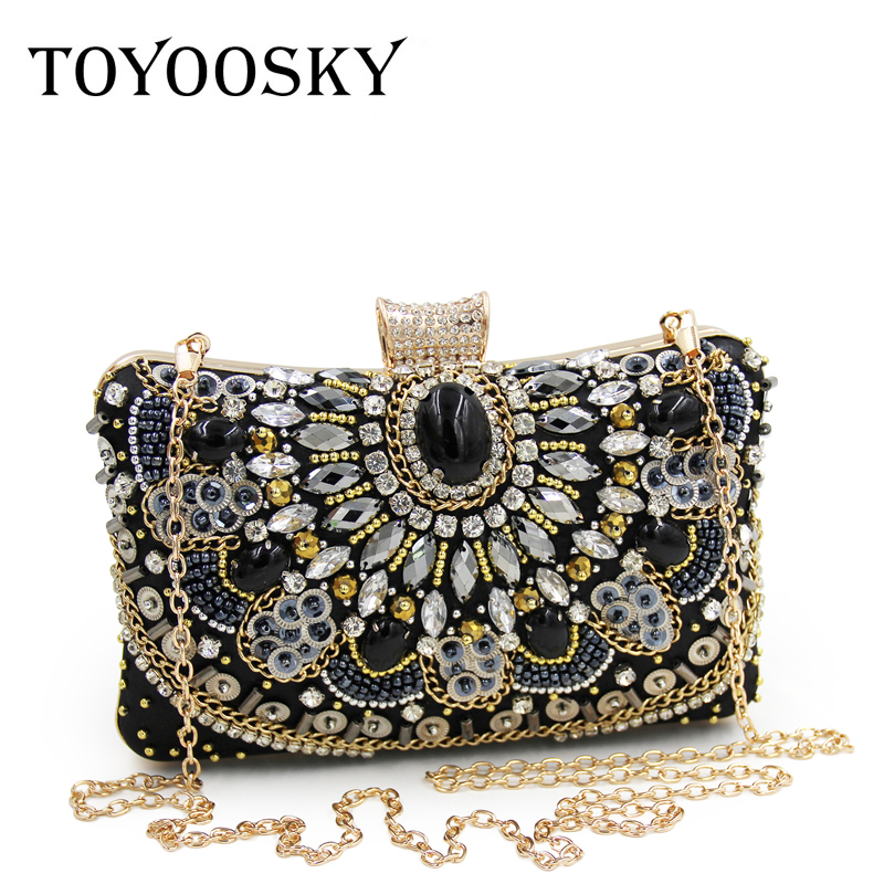 TOYOOSKY Vintage Women Clutch Bag Sequined Diamond Handbag Bridal Wedding Party Metal Clutches Purse Minaudiere Evening Bag yuanyu 2018 new hot free shipping real python leather women clutch women hand caught bag women bag long snake women day clutches