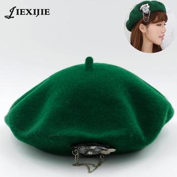 jiexijie hot 100% wool Beret Female Winter Hats VIVI models riveted wool berets ladies painter hat rivet round cap for women's босоножки queen vivi queen vivi qu004awevsg3