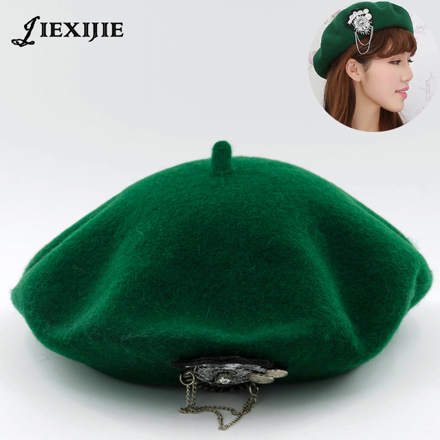 797846e9 jiexijie hot 100% wool Beret Female Winter Hats VIVI models riveted wool berets  ladies painter
