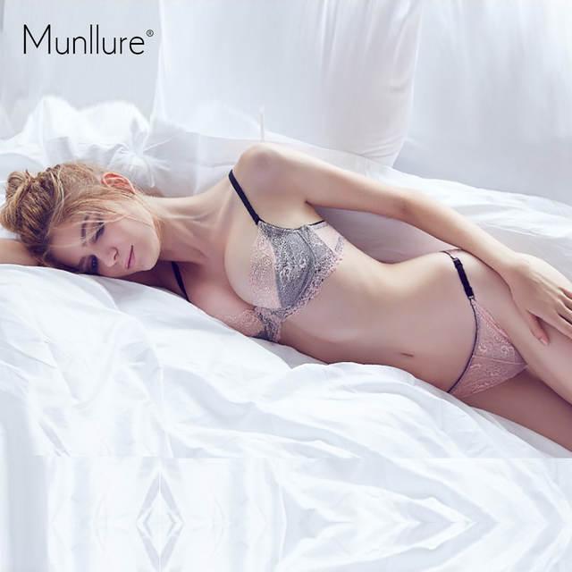 877f89d0c3 Munllure Underwear sexy lace embroidery bra ultra-thin cutout bra set gauze  thin women s underwear