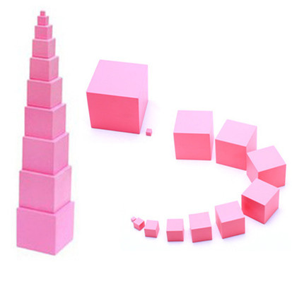 Montessori rose tour famille ensemble taille Max 7 cm blocs de construction en bois jouets éducatifs 0.7-7 cm Cube blocs cadeau