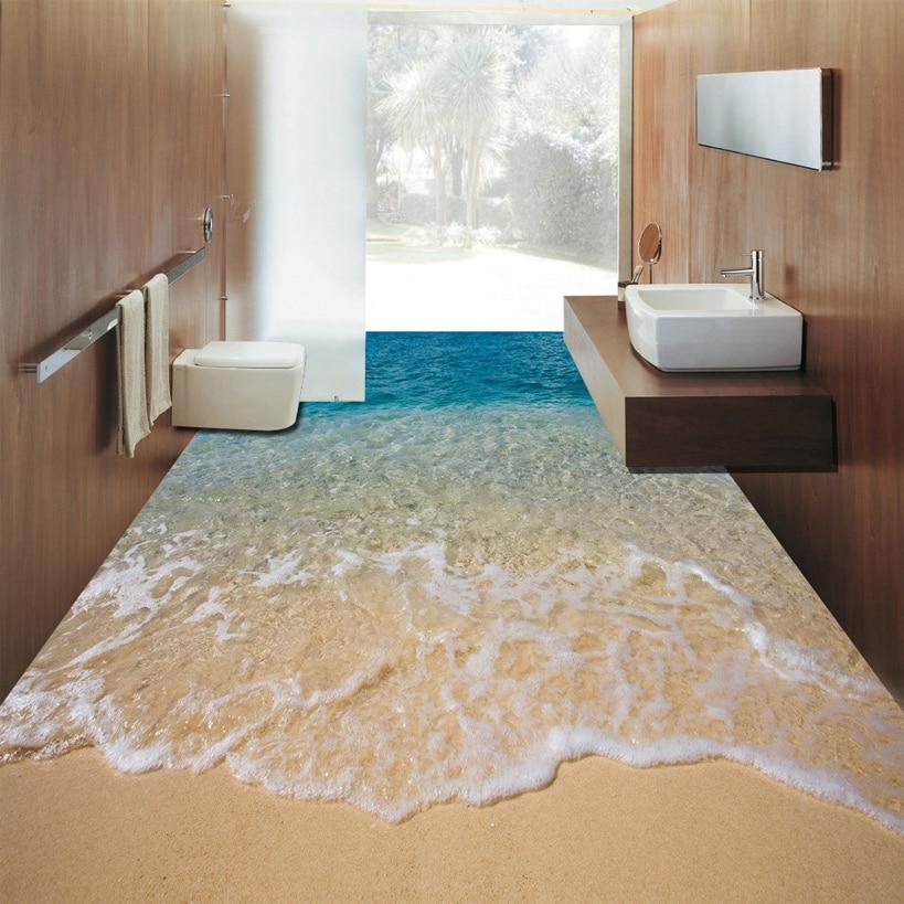 Us 13 46 54 Off Custom 3d Beach Sea Water Living Room Bedroom Bathroom Floor Mural Paintings Self Adhesive Vinyl Wallpaper Home Decor De Parede In