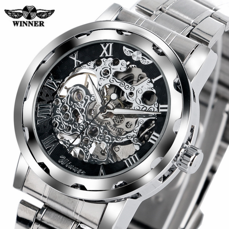 T-WINNER Hand-Winding Mechanical Watch Men Carving Skeleton Dial Wrist Watches Stainless Steel Band Steampunk Luxury Brand Clock спот точечный светильник arte lamp spia a9128ap 2wh