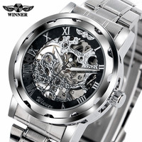 T WINNER Hand Winding Mechanical Watch Men Carving Skeleton Dial Wrist Watches Stainless Steel Band Steampunk