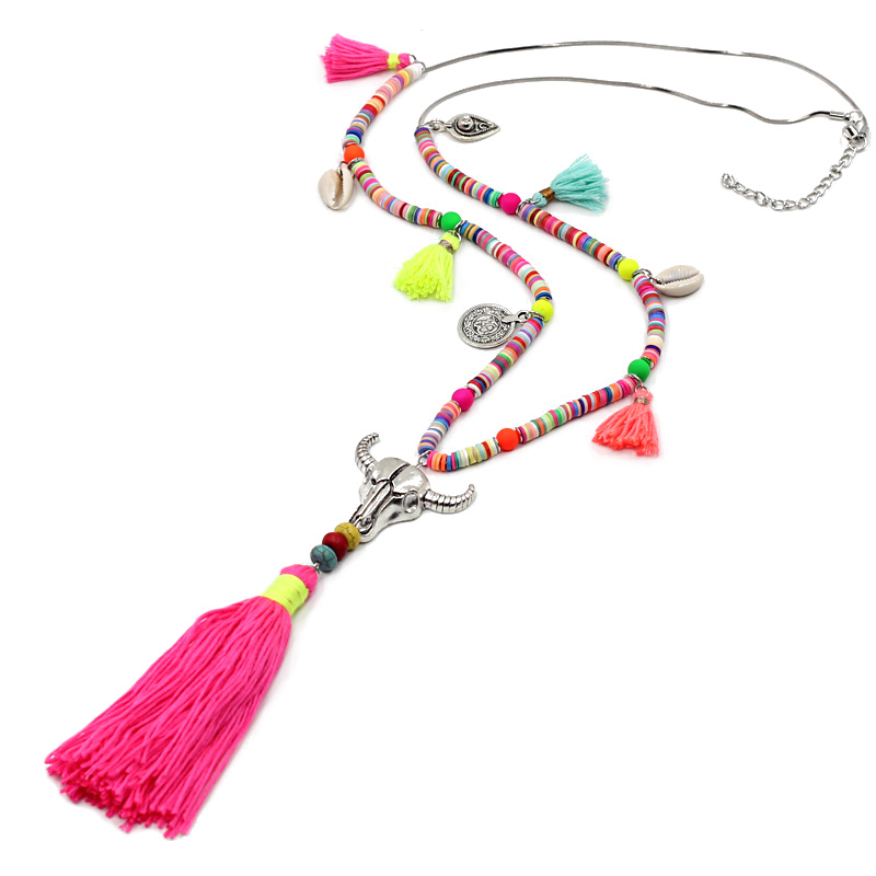 VONNOR Jewelry Women Statement Necklace Bohemian Colorful Beads Shell Tassel Pendant Female Girls Long Necklace for Dress stylish faux gem decorated rhombus beads tassel necklace for women