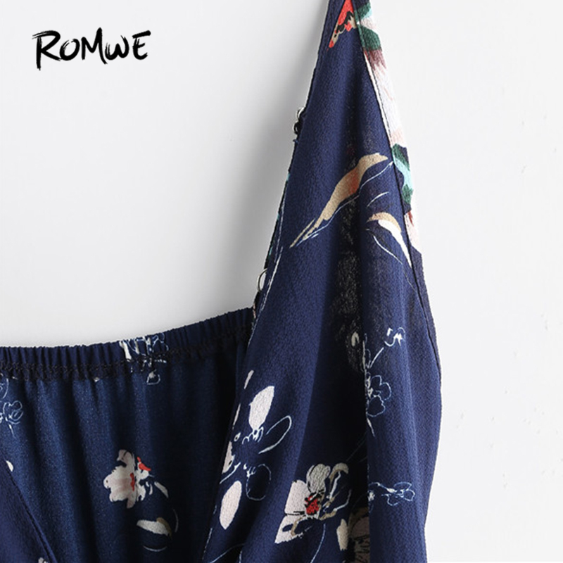 73bc3fbbd47 ROMWE Floral Print Cut Out Knot Front Cami Romper V Neck Rompers for Women  2018 Summer Navy Sleeveless Sexy Romper-in Rompers from Women s Clothing .