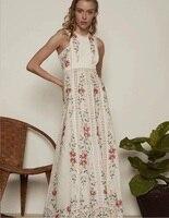 2019 весна лето Модное Длинное Платье женское выдалбливают Вышивка без рукавов черный белый хлопок Длинное Макси богемное пляжное платье