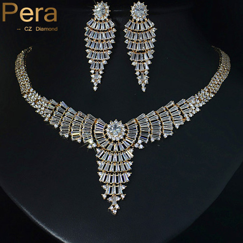 Pera Luxury African Women Wedding Jewelry Sets Sparkling Gold Color Long Big Exaggerated Necklace Earrings With CZ Stone J063 pera luxury bridal wedding imitation pearl jewelry green cz stone pave setting big long hanging earrings for brides e045