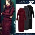 2016 invierno Europeo femenino de tejer lana engrosamiento noble temperamento autocultivo largo Suéteres inferiores