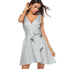 New summer popular Italian fashion personality temperament sleeveless bow with sexy striped female dress