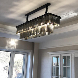 Image 5 - Dining Table Dining Lamp Chandelier Chandelier Crystal Rectangular Creative Personality Dining Room Lamp Bar Modern Chandelier
