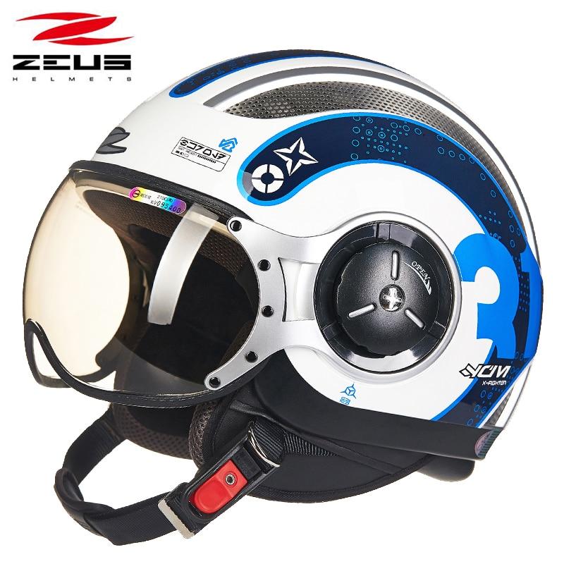 ZEUS Motorcycle Helmets Motocross Jet retro 3/4 half helmet DOT approved 218C Capacete Casco Motorbike helmet цена
