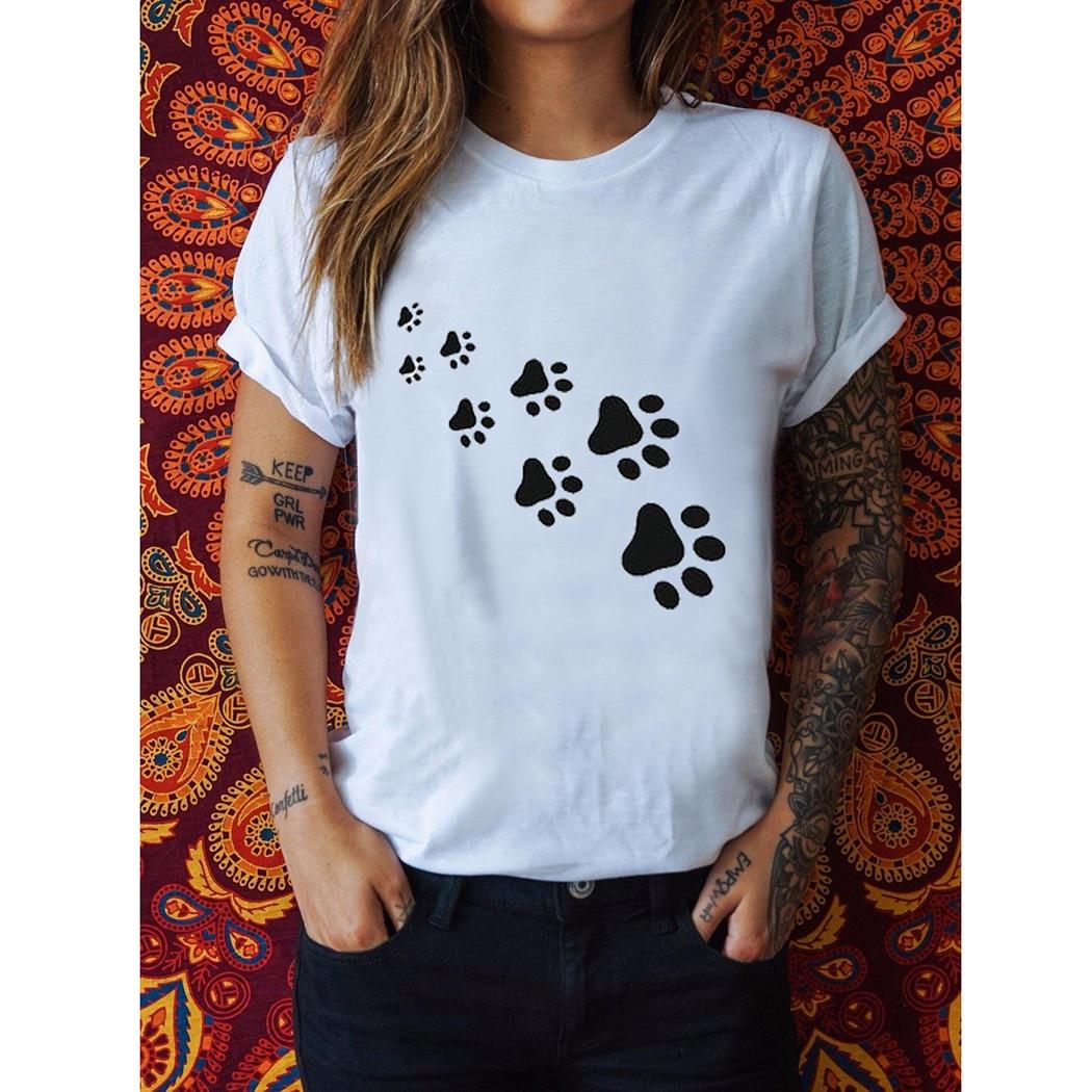 Damen Schwarz Grau Weiß T Shirt Sommer Lustige Hund Fuß Druck T Shirt Frauen Harajuku Tops Kurzarm T-shirt Oansatz T-shirt