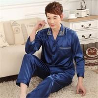 Mens Silk Pajamas Set Satin Chinese Turn Down Collar Pure Pyjama Homme Long Sleeve Sleeping Shirt