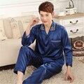 Hombres Pijamas de Seda de Raso Chino Gira el Collar Abajo Pure Pijama Homme Marca de Lujo Masculina de Manga Larga Camisa de Dormir ropa de Dormir