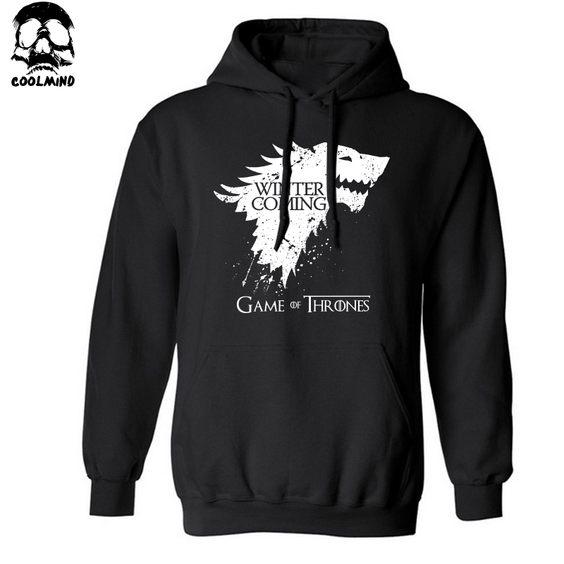 Top quality cotton blend game of thrones hoodies casual winter is coming sweatshirt with hat