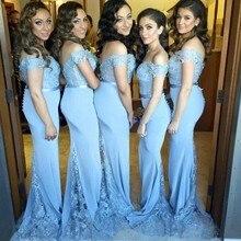 Blue Bridesmaid Dresses Mermaid Bride Gowns Transparent Lace Tail Wedding Guest Dresses Maid Of Honor Dress Vestido De Festa