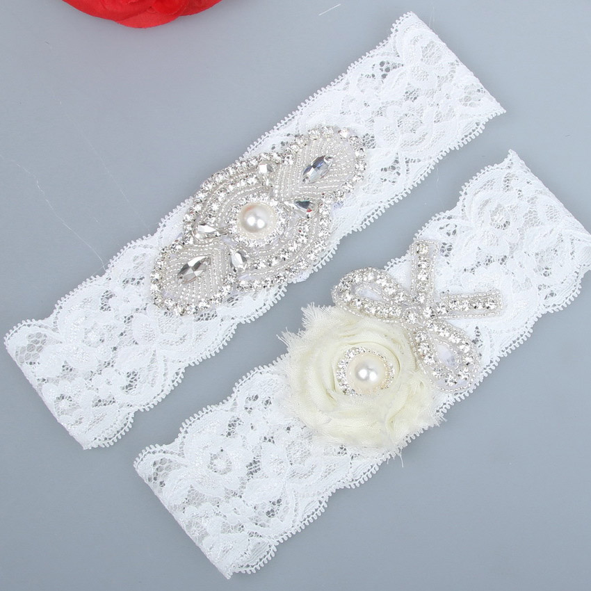 Rhinestone Bridal Lace Garter Butterfly Pearl Wedding