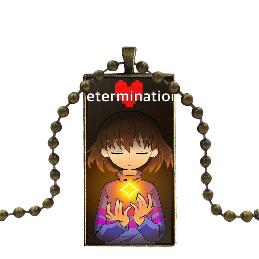 Glass Pendant Necklace Handmade Half Pendant Rectangle Necklace For Women  Men Party Popular Cool Game Undertale Chara