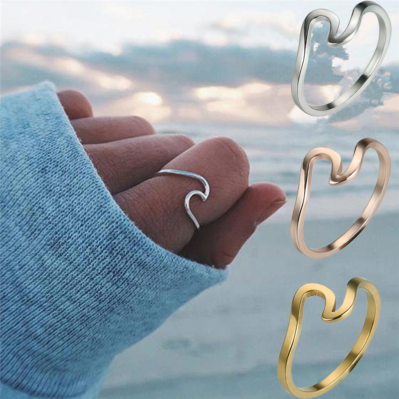 2018 Fashion NEW Wave Ring Wedding Ring For Women Jewelry Accessories Engagement Ring Women Dress Party Rings Ocean Wire