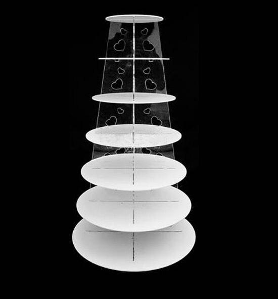 7 Tier White Circle Heart Acrylic Cupcake Party Wedding