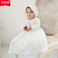 IYEAL Newborn Baptism Dress With Hat For Baby Girl First Birthday Party Wear Toddler Girl Christening Gown Kids Infant Clothes