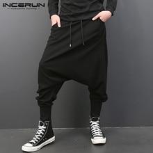 INCERUN Мужские штаны-шаровары, одноцветные свободные штаны для бега, Мужские штаны с шаговым швом, Ретро стиль, уличная одежда, повседневные штаны размера плюс 5XL