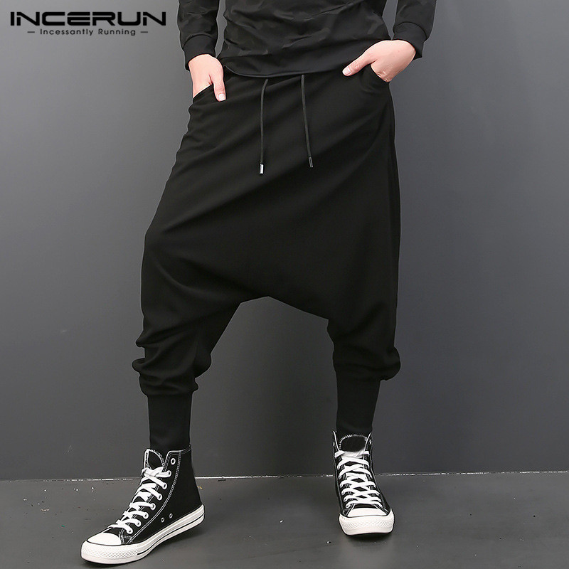 INCERUN Mens Harem Pants Solid Loose Joggers Trousers Men Crotch Pants Hip-hop Vintage Streetwear Casual Pantalon Plus Size 5XL