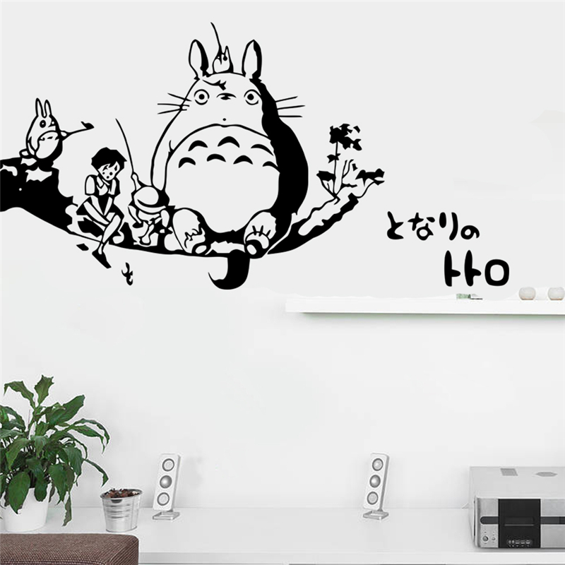 new cartoon totoro home decoration wall stickers for kids room wall decals diy vinyl Hayao Miyazaki movie art black image