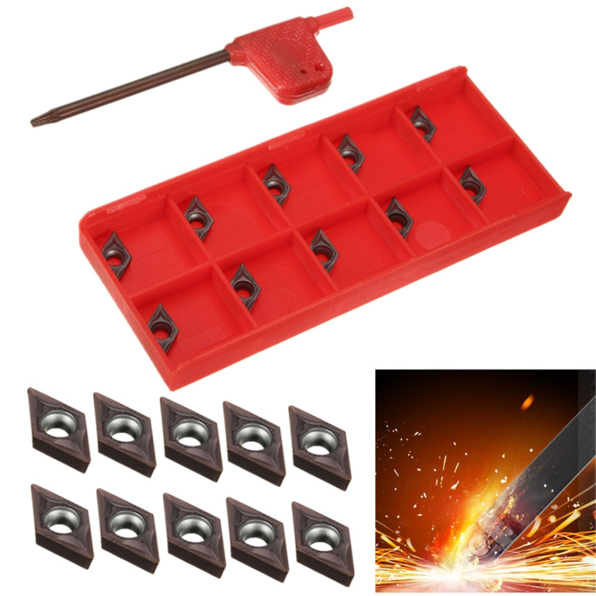 10pcs DCMT0702 EM YBC205 Carbide Inserts for Carbide Cutter Turning inserts Tool Lathe Turning Boring Tools10pcs DCMT0702 EM YBC205 Carbide Inserts for Carbide Cutter Turning inserts Tool Lathe Turning Boring Tools