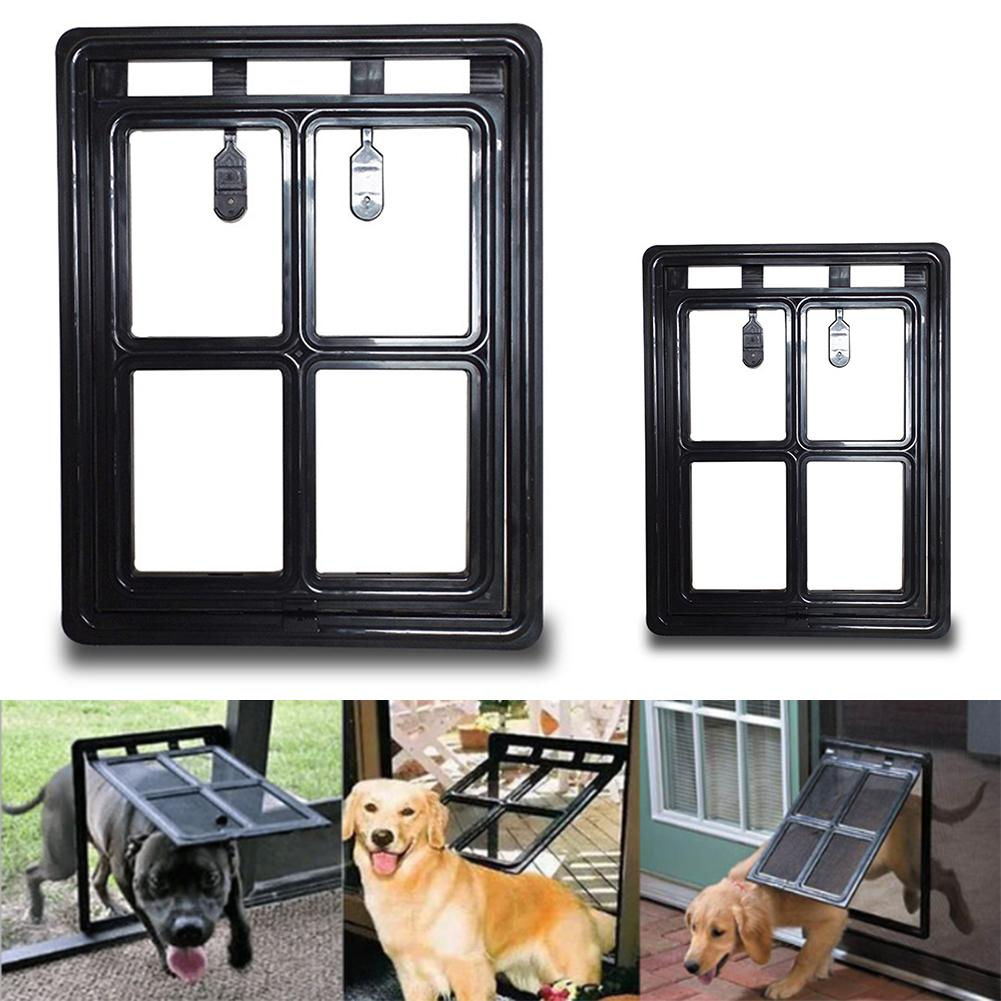 Lockable Plastic Pet Dog Cat Kitty Door For Screen Window Security Flap Gates Pet Tunnel Dog Fence Free Access Door For Home