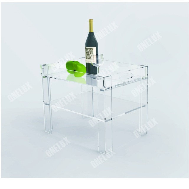 Rectangular Clear Acrylic Lucite Side Table W/ Serving Tray