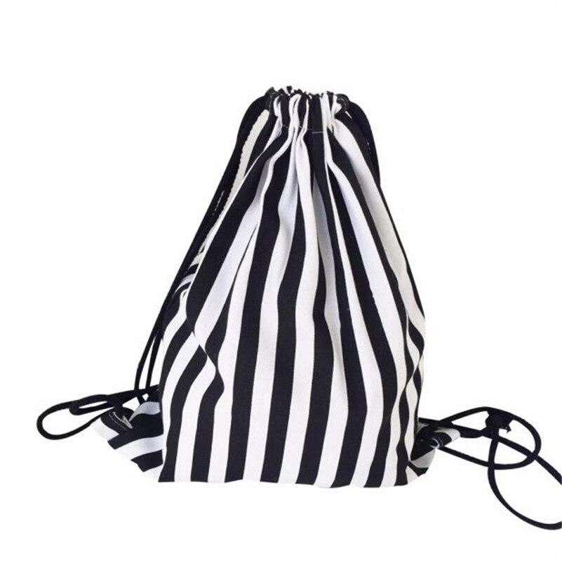 Hot 2017 New Fashion Women Stripe Drawstring Beam Port Backpack Shopping Bag Travel Bag Simple Style Designer Small Backpack