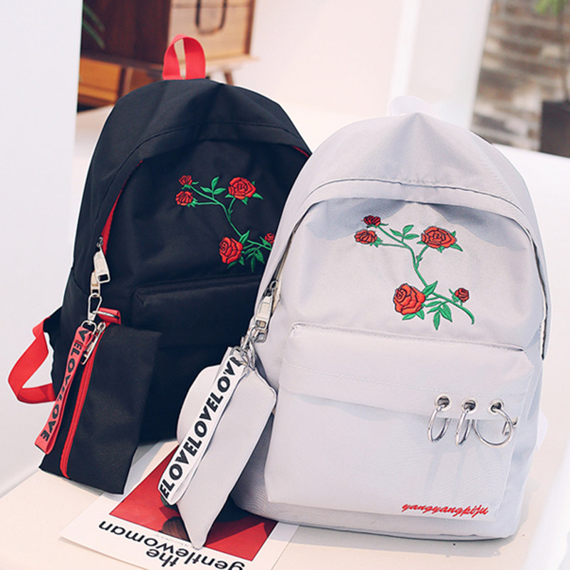 2018 oversize 2 Pcs Women Backpack Pencil Case Zipper Rose Flower Embroidery  Girl Student School Bags WML992018 oversize 2 Pcs Women Backpack Pencil Case Zipper Rose Flower Embroidery  Girl Student School Bags WML99
