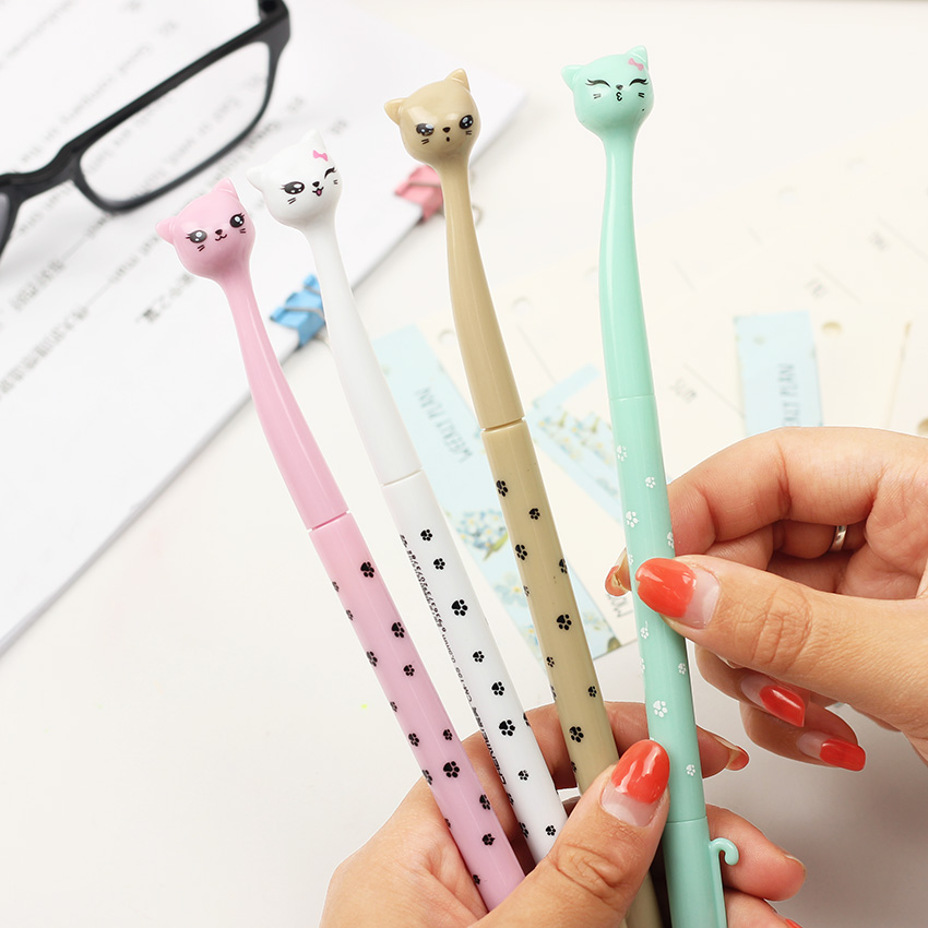 цены 4PCS Cat Gel Pen Material Escolar Kawaii Stationery Pens Creative Gift Office School Supplies