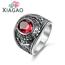 XIAGAO 4 Colors Male Retro Ring Fine Jewelry Size 9-13 Gorgeous Red & Black Titanium Steel Ring For Men Air Focus Punk Ring