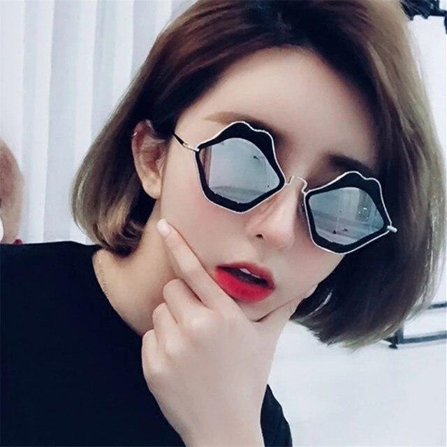 73c6ab5fbb0a 2019 New Sexy Lip Shaped Sunglasses Women Cute Metal Frame Black Red Retro  Sun Glasses for Men Women Personality Eyewear