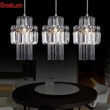 Креативная Хрустальная светодиодная люстра, подвесной светильник E14, промышленный блеск, подвесные лампы для кухни, декоративный подвесной светильник