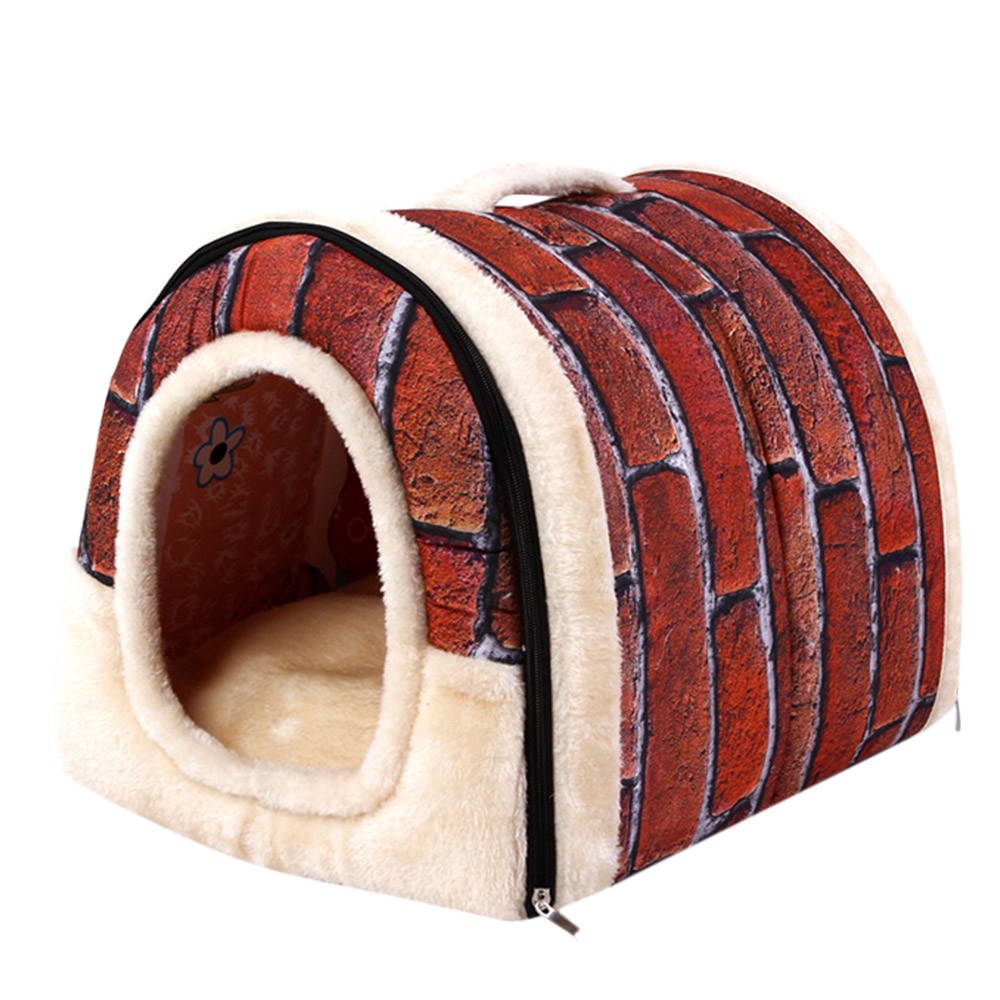 cd180ae6a Pet Dog Cat Bed House Warm Soft Mat Bedding Igloo Basket Kennel ...