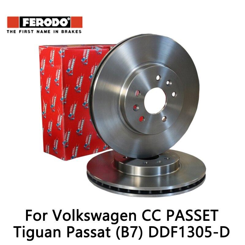 2pcs/lot Ferodo Car Front Brake Disc For Volkswagen CC PASSET Tiguan Passat (B7) DDF1305-D 2pcs lot ferodo car front brake disc for volkswagen polo 1 4 1 6 lavida bora golf 4 ddf929 d