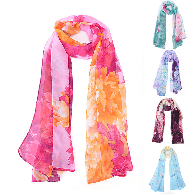 Woman Neck Georgette New Peony Pattern Long Stole Scarves Girl Shawl Fashion Flower Scarf 160x50cm