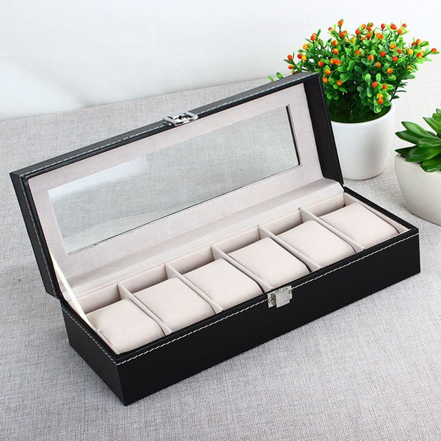 GENBOLI 6 Grids PU Leather Watches Box Jewelry Packaging Display Storage Casket Collection Organizer Holder Rack Case Gift Boxes