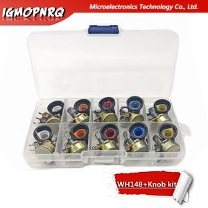10 pces wh148 potenciômetro kit b1k b2k b5k b10k b20k b50k b100k b250k ohm 3pin 15mm botão ag2 15x17mm cada 1 pçs