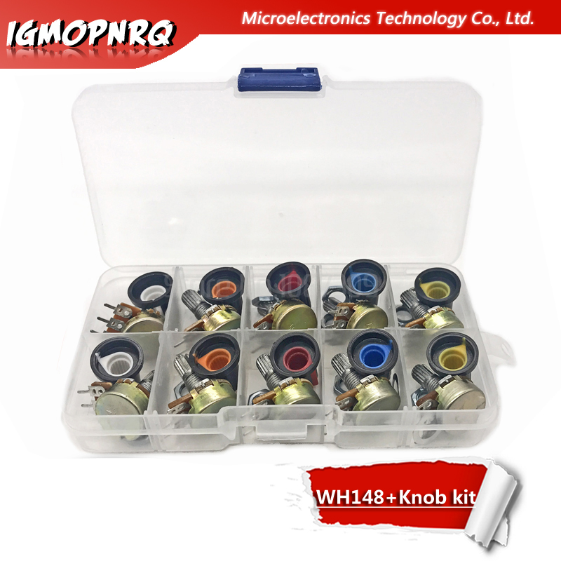 10PCS WH148 Potentiometer Kit B1K B2K B5K B10K B20K B50K B100K B250K Ohm 3PIN 15MM Knob AG2 15x17mm EACH 1pcs