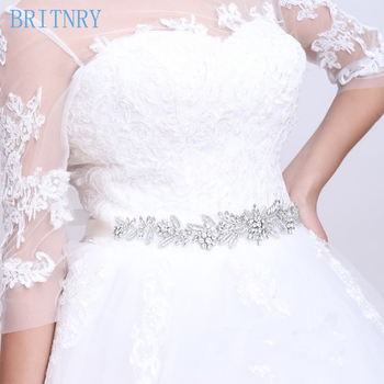 BRITNRY Real Photos Ivory Rhinestone Belt Luxury Crystal Belt Satin Ribbon Sashes Bridal Belt Cheap Dress Belt
