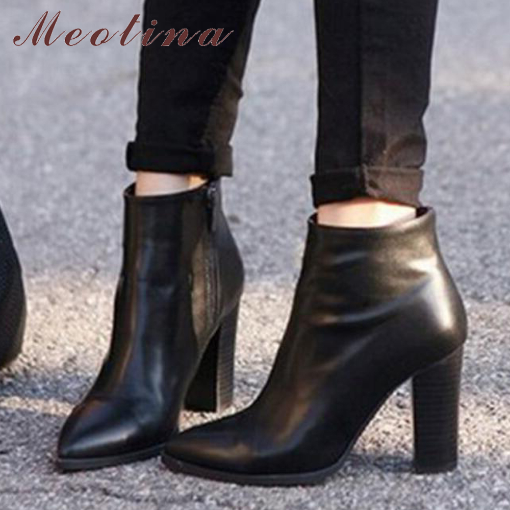 Meotina Short Boots Shoes Pointed-Toe Natural-Leather Winter Women Ladies Sexy Zip Ankle