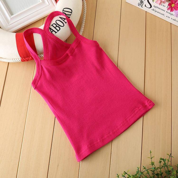100%Cotton Vest Colored Kids Girls Camisole Children Tops For Girls 2-14Y KT-1818