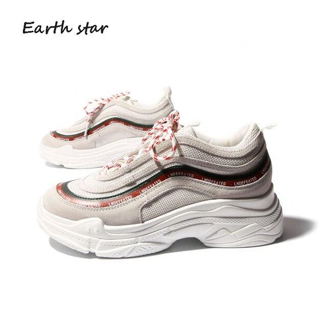 e0fbd74e3 TERRA ESTRELA 2018 Moda Primavera Senhora Casual Sapatos Brancos Mulheres  Sapatilha Sapatos de Plataforma Lazer Respirável Sapato Casual Cross- amarrado