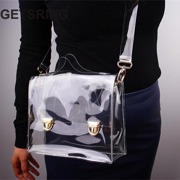 GETSRING Women Bag Woman Handbags Transparent Pvc Totes Casual Tote Wide Shoulder Strap Women Handbag Envelop